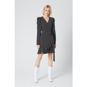 Wrap Dress Denice Black/White Check