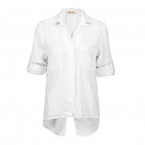 Blouse Split Back Button Down White