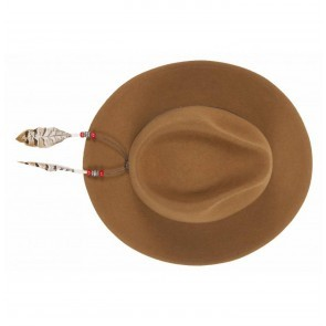 Fedora Hat Cognac + Strap Simple Red Beads