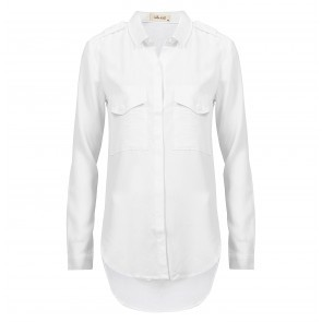 Blouse Flap Pocket Button Down White