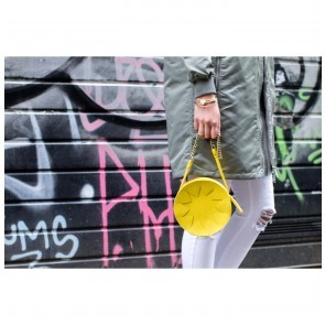 Zig Zag Pouch Circle Yellow