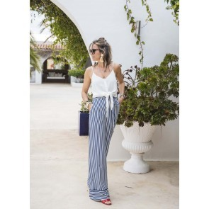 Pants Palazzo Navy White Stripes
