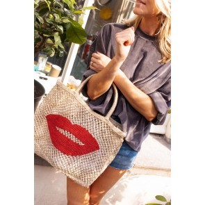 Beach Bag Jute Lips Natural