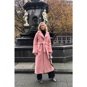 Long Teddy Coat Faustine Light Pink