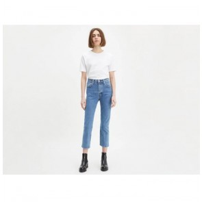 High Waist Crop Jeans 501 Straight Fit LMC Dune Blue
