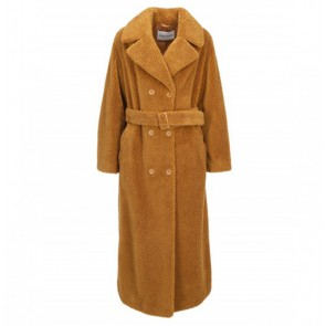 Long Teddy Coat Faustine Nougat