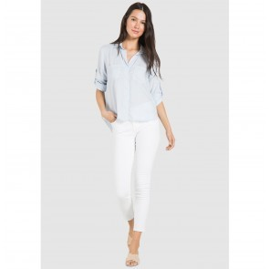 Shirt Fray Hem Split Back Heather Blue