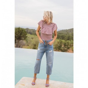Top Jane Tawny Pastel Check