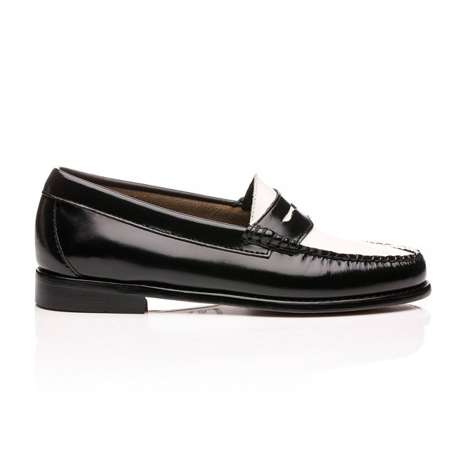 467c61a1befeb Weejuns Penny Loafers Black and White Leather   G.H. Bass   OU ...