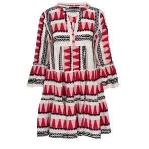 Short Ruffle Dress With Embroidery Red Black