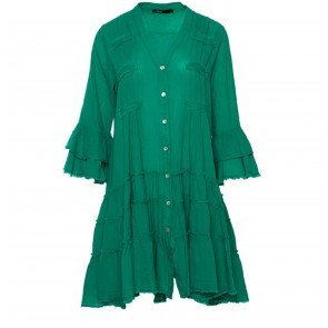 Short Dress With Embroidery Green