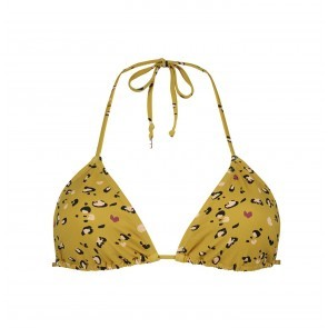 Triangle Bikini Top Leopard Amber Gold