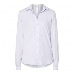 Blouse Frayed Hem Button Down Marble Grey