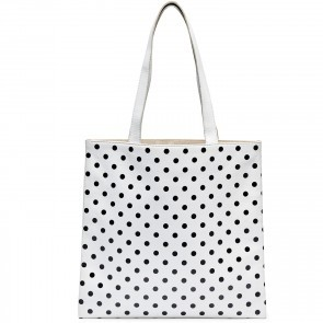 Small Tote Bag White with Black Dots
