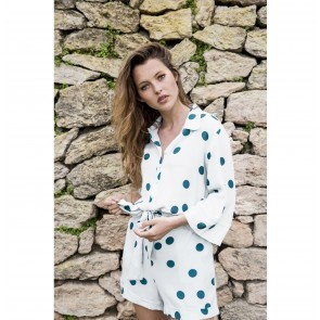 Playsuit Il Pelicano White Green Polkadot