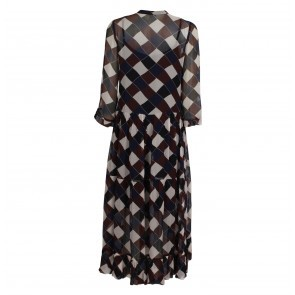 Long Dress Alexondra NavyBrown Check