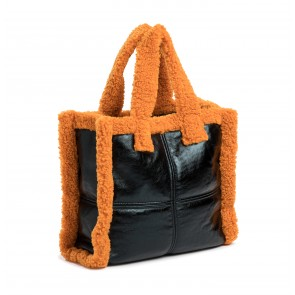Shearling Bag Lolita Patent Black/Orange