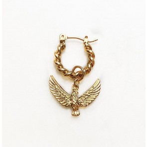 Earring Twisted Hoop Eagle Gold