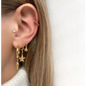 Earring Hoop Feather And Star Gold