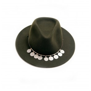 Fedora Hat Green Forest + Strap Coins Black