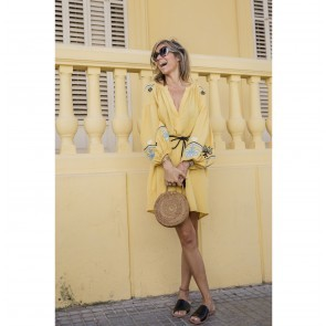Short Dress With Embroidery Yellow