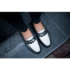 Weejuns Penny Loafers Black and White Leather