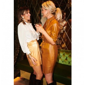 Leather Dress Baroon Brown